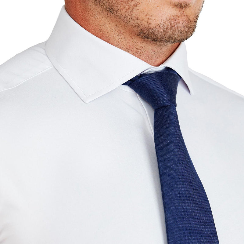 """The Carlton"" Solid White Double Button Spread Collar"