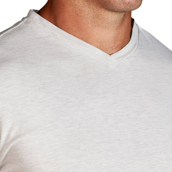 """The Maxson"" Heathered White Short Sleeve V-Neck"