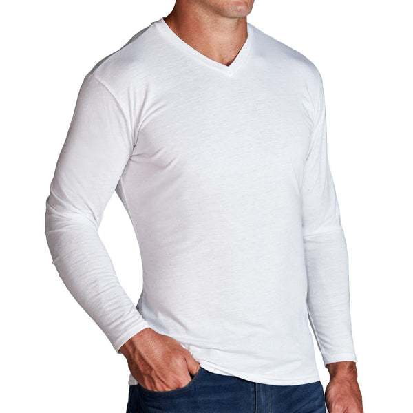 """The Becker"" Heathered White Long Sleeve V-Neck"