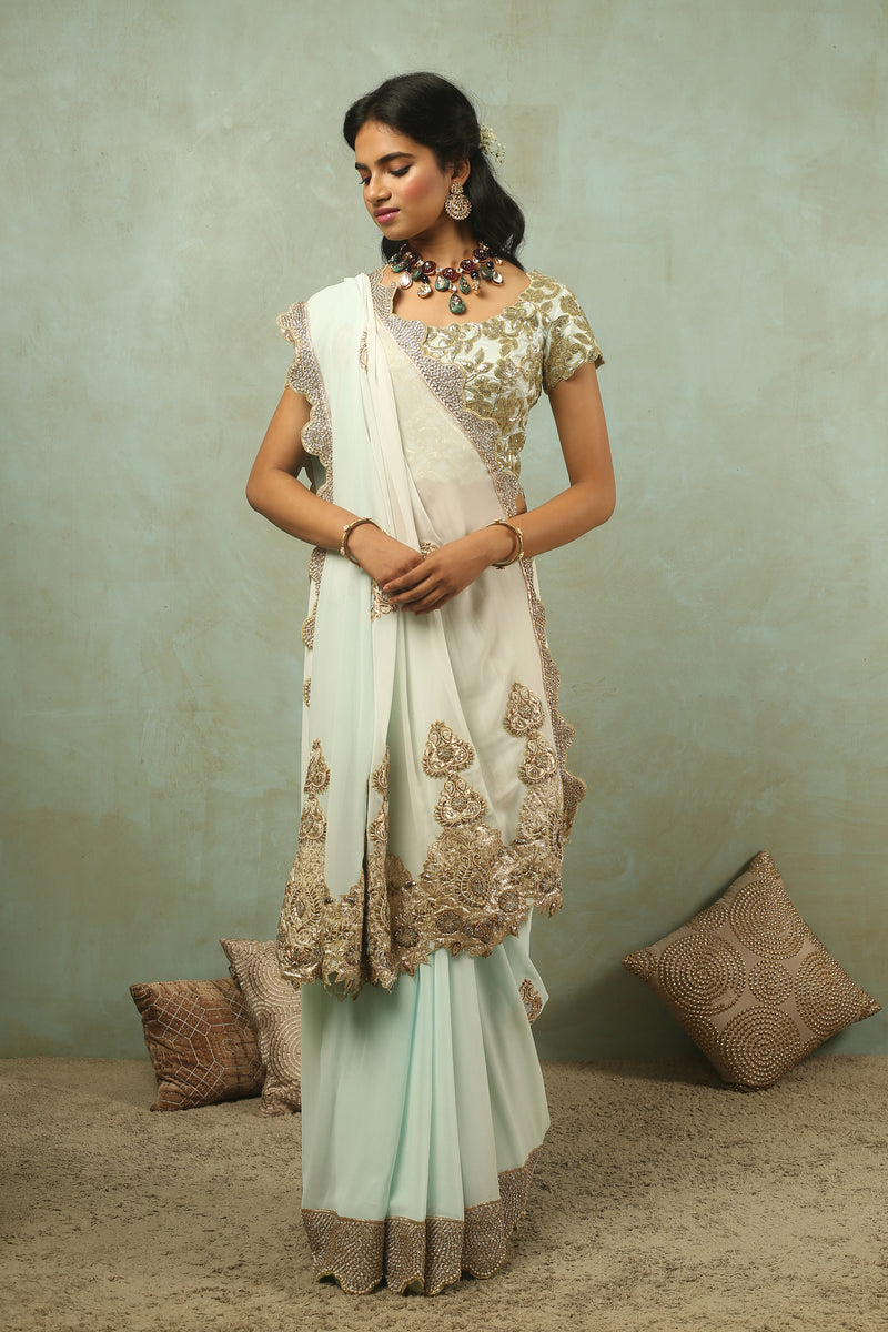 The Maharani Brocade Applique Saree