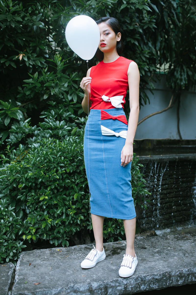 Betty Draper Bow Skirt and Crop Top