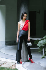 Kalki Koechlin In Betty Draper Asymmetrical Corset Top
