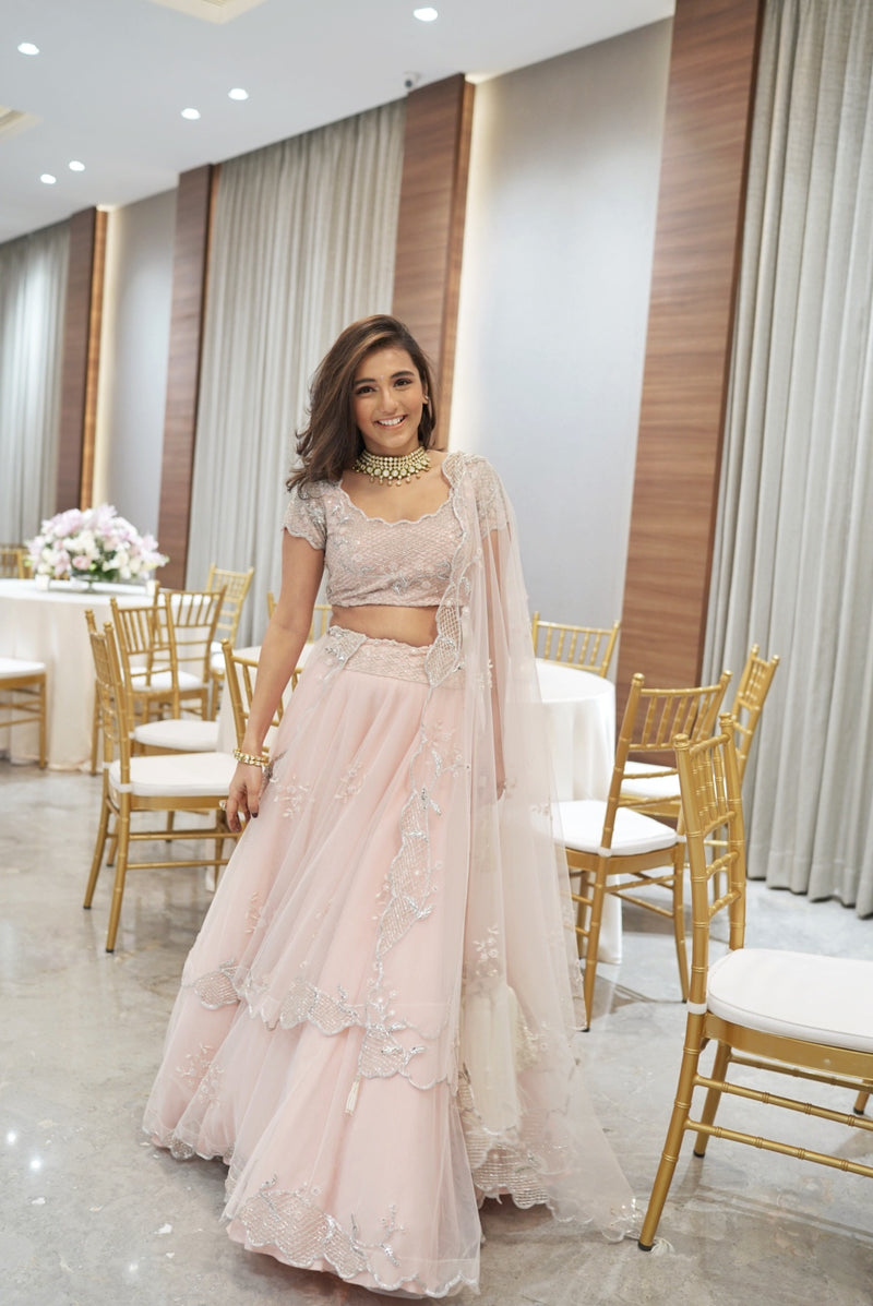 Masoom Minawala In Fairytale Pink Tiered Tea Rose Ghaghra