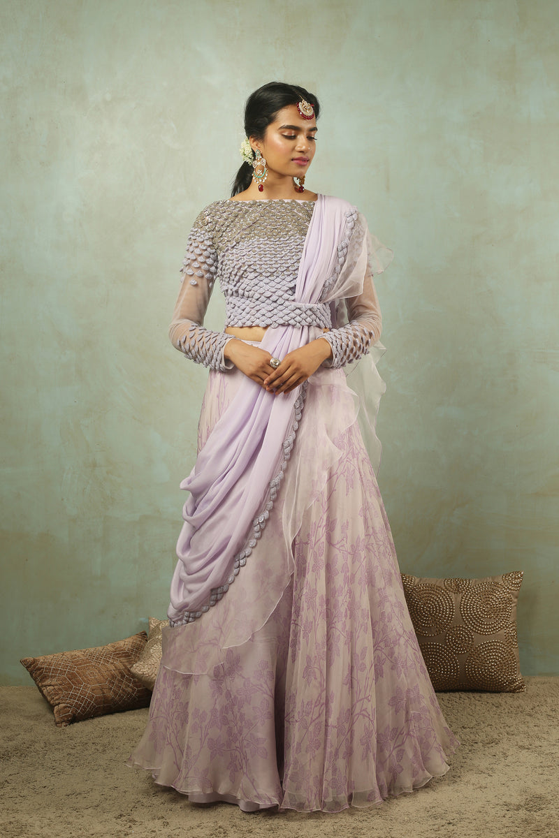 Lavender Love in the Mist Printed Lehenga (SALE)