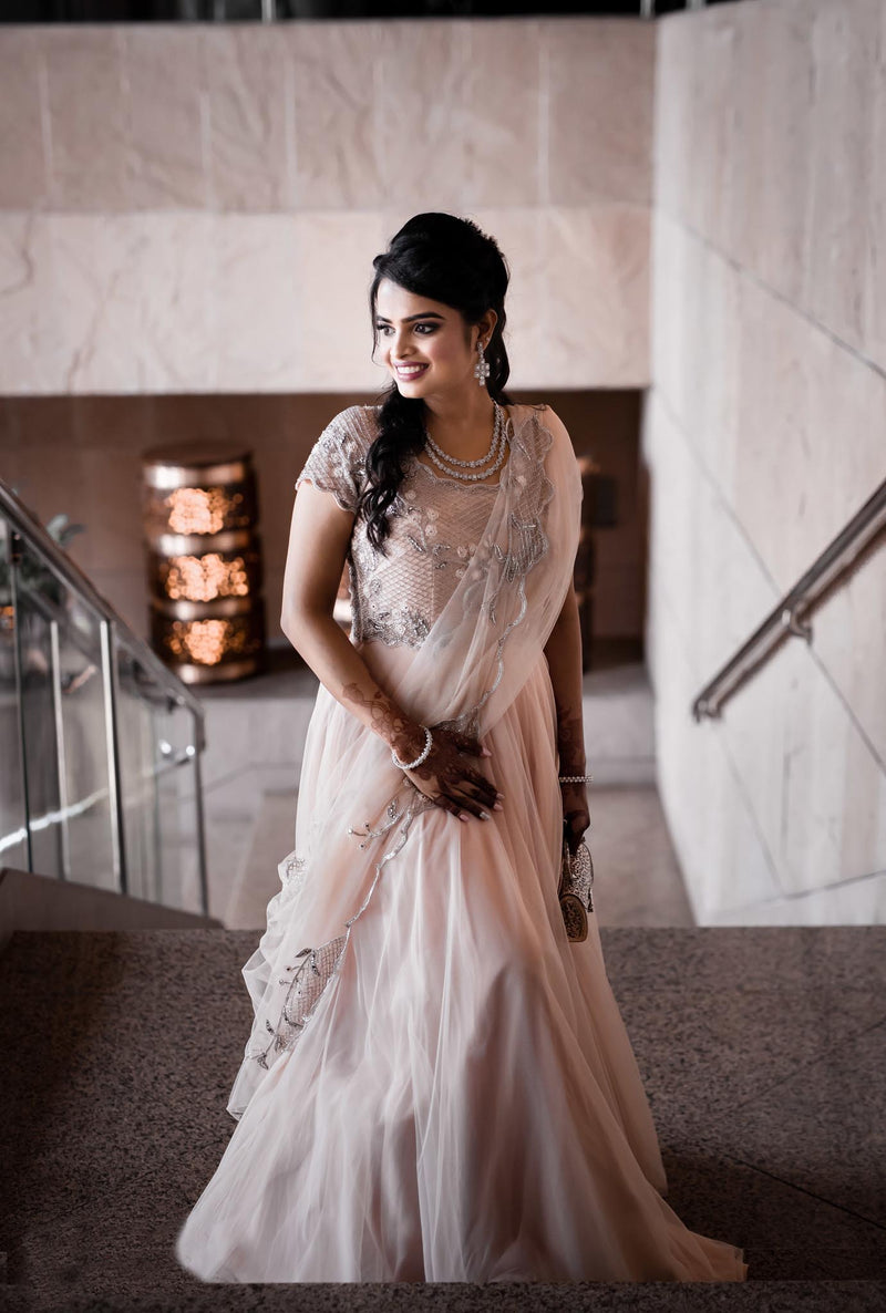 Paridhi in Our Fairytale Pink Tea Rose Gown