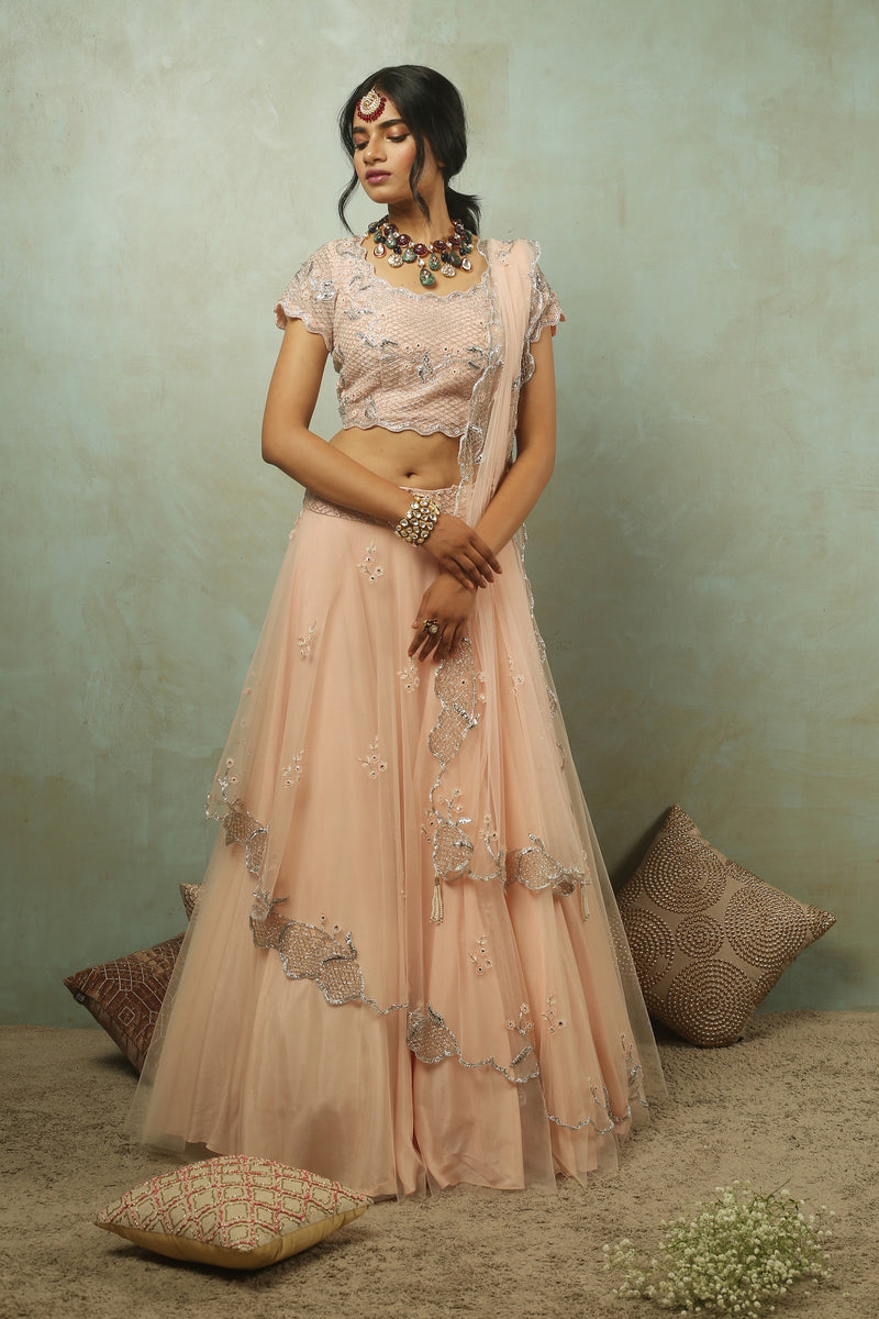Tea Rose Asymmetrical Lehenga