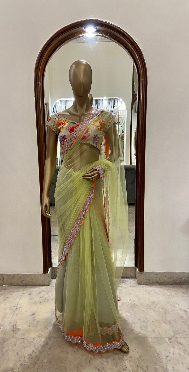 Neon Saree with Floral Blouse (SALE)