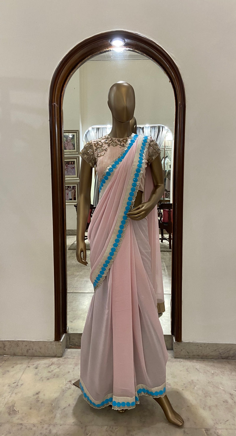 Powder Pink Saree With Blue Highlight Geometrical Border (SALE)