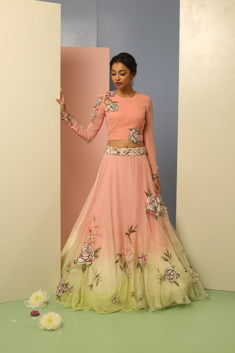 Star Flower Lehenga with Dupatta