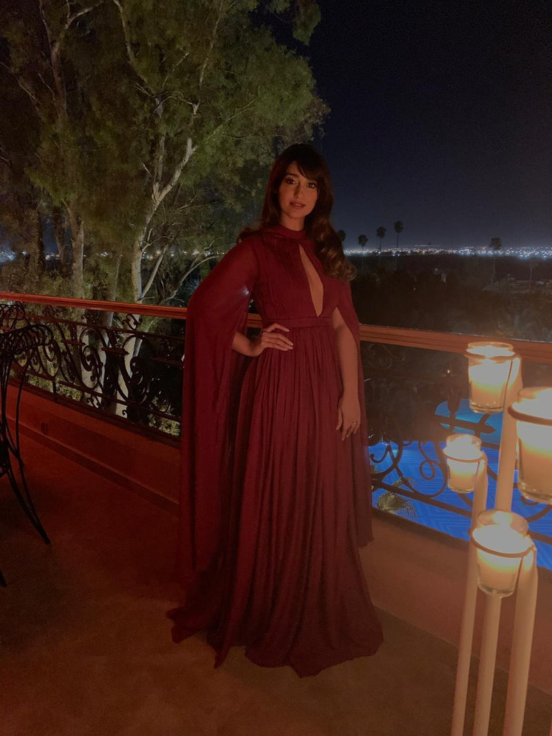 leana D'cruz In Cape Sleeves Gown(SALE)