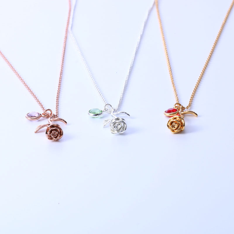 Rose Necklace W/Birthstone