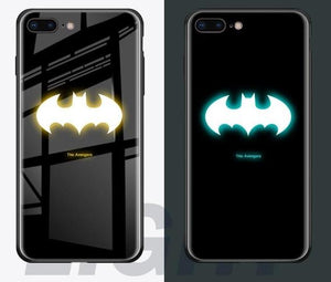 Luminous Tempered Glass Case - Bat Signal