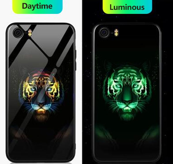 Luminous Tempered Glass Case - Tiger