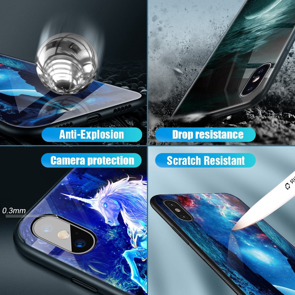 Luminous Tempered Glass Case - Jelly fish