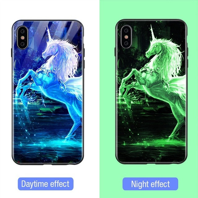 Luminous Tempered Glass Case - Unicorn