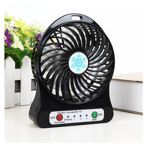 Mini Desktop USB Fan Portable Rechargeable Battery Air Cooler with LED Light - Black - Calutek Online