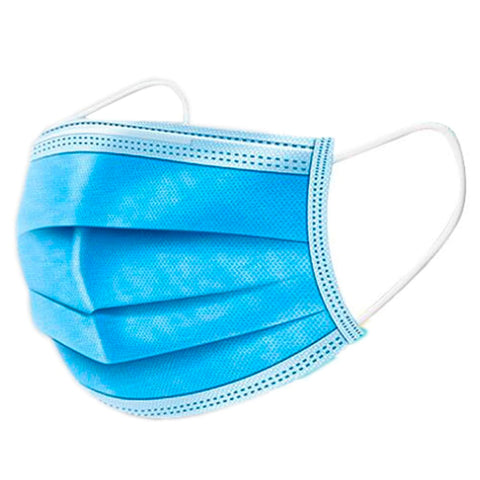 Blue 3 Ply Disposable Face Mask - 50 Pcs IN STOCK ($0.59 Per Piece)