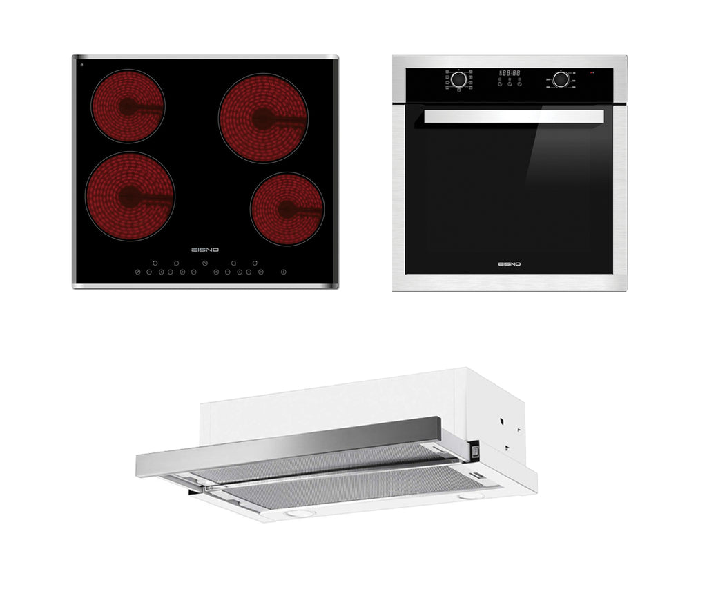 Package product Fisher & Paykel 60cm Built-in Rangehood+Eisno 9 Functions 65L Oven+Eisno 600mm Cooktop