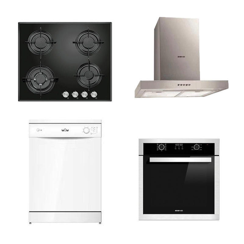 DMG SHOP - EISNO Package 2: Gas Hob 600mm + Wall canopy Rangehood 600mm + Dishwasher + 9 Function Oven