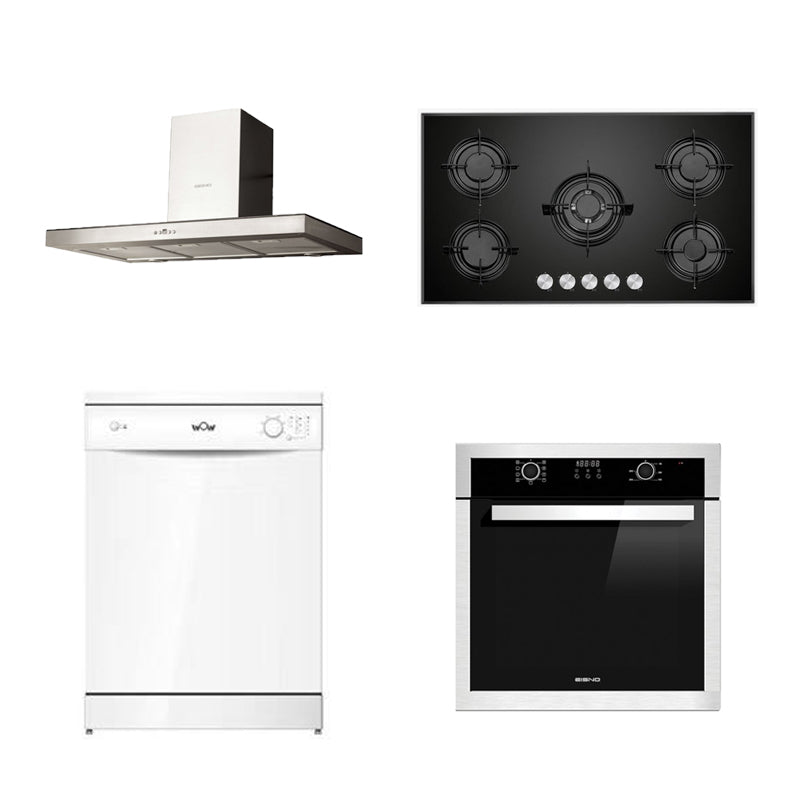 DMG SHOP - EISNO Package 3: Rangehood 900mm+Gas Cooktop 900mm+Dishwasher+9 Function Oven