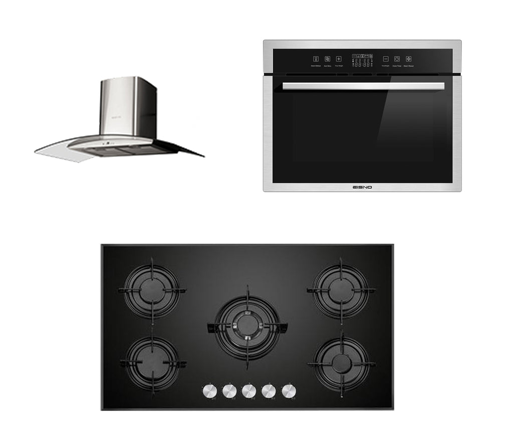Package product Eisno 90mm Gas Hob+Eisno 10 Functions 65L Oven+Eisno 900mm Rangehood