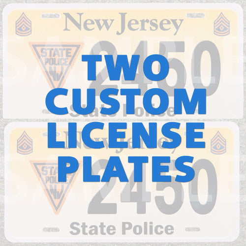 Two custom vanity license plates