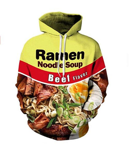 Image of Ramen Noodle Soup Print Funny Beef 3D Hoodie