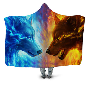 Animal Hooded Blankets - Animal Series Wolf Ice and Fire Super Cool Fleece Hooded Blanket
