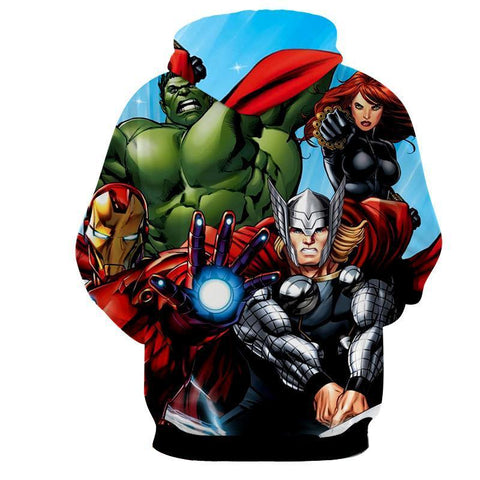 The Avengers Iron Man Thor Hulk Hoodies - Pullover Blue Hoodie