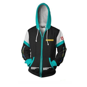 Vocaloid Hoodies - Zip Up Cartoon Hatsune Miku Hoodie