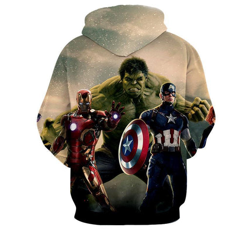 Image of The Avengers Captain America Iron Man Hulk Hoodies - Pullover Grey Hoodie