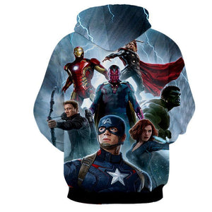 The Avengers Iron Man Captain America Hulk & All Other Hoodies - Pullover Blue Hoodie