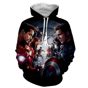 The Avengers Iron Man Captain America & All Others Hoodies - Pullover Black Hoodie