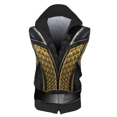 Image of Mortal Kombat Hoodie - Zip Up Scorpion Sleeveless Hoodie