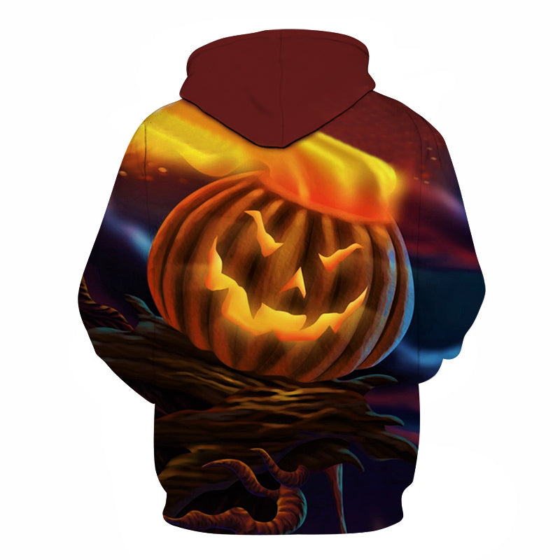 Halloween Fire Hat Pumpkin Lamp 3D Printed Hoodie