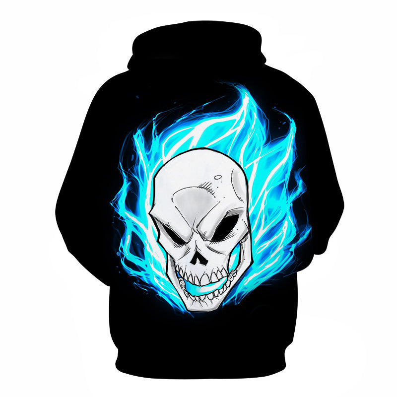 Halloween Devil Blue Flame Skull 3D Printed Hoodie