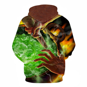 Devil 3D Print Halloween Green potion Hoodie