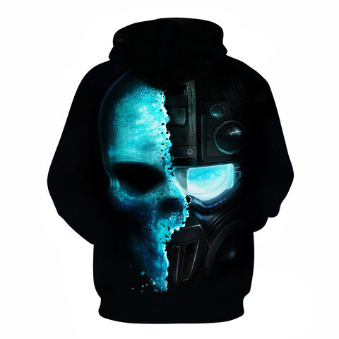 Image of Halloween Devil Double Skeleton Skull 3D Printed Hoodie