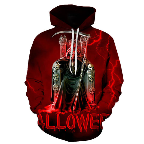 Image of Halloween Devil Skeleton Throne 3D Printed Hoodie