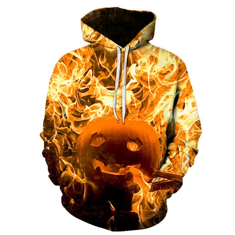 Image of Halloween Afire Pumpkin Lamp 3D Printed Hoodie