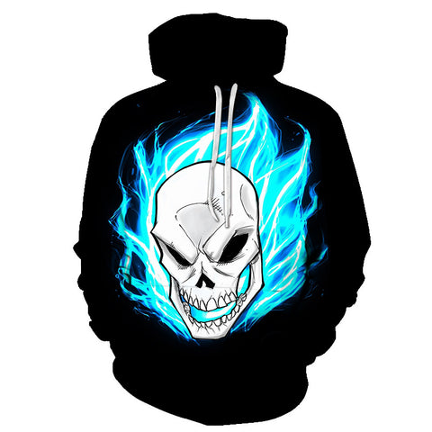 Image of Halloween Devil Blue Flame Skull 3D Printed Hoodie