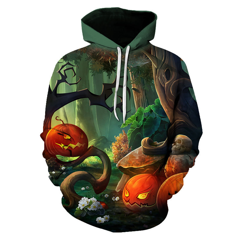 Halloween Jungle Party Pumpkin Lamp 3D Printed Hoodie