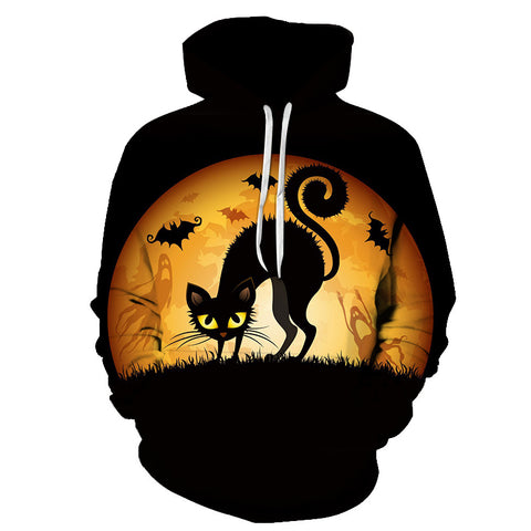 Image of Halloween Wild Cats Devil 3D Printed Hoodie