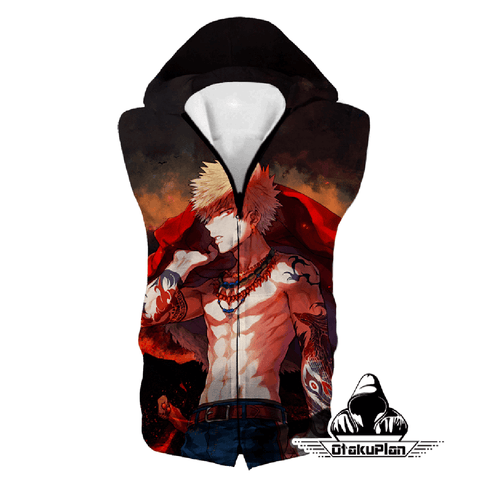 Image of My Hero Academia Handsome Hero Fan Made Bakugo Katsuki Cool Anime Promo Hoodie MHA097