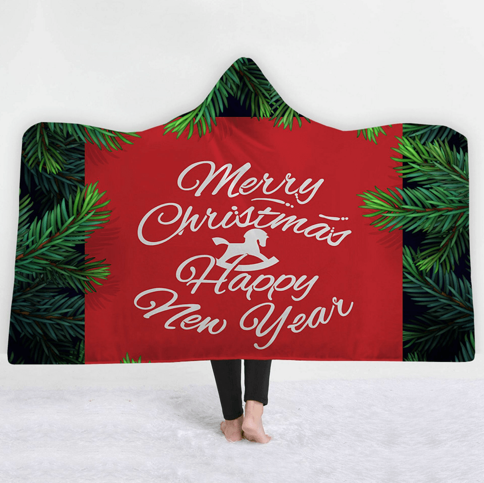 Merry Christmas Hooded Blanket - Green Leaves Blanket