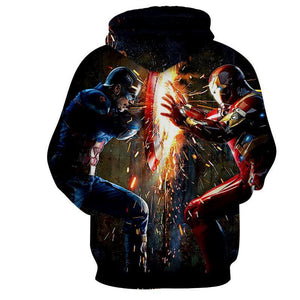 The Avengers Captain America Iron Man Hoodies - Pullover Black Hoodie