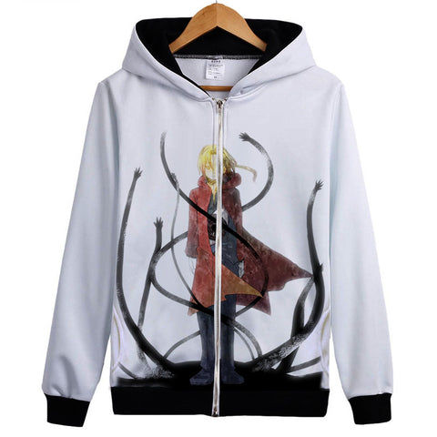 Fullmetal Alchemist Hoodies - Zip Up Cosplay Red Print Hoodie