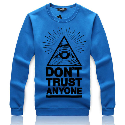 Image of Men's Sweatshirts - Men's Sweatshirt Series DON'T TRUST ANYONE Black Icon Fleece Sweatshirt