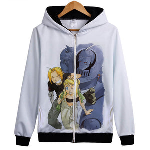 Fullmetal Alchemist Hoodies - Zip Up Anime Laugh Hoodie