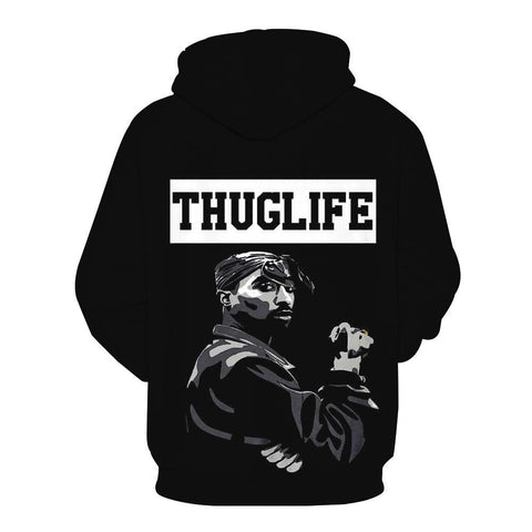Image of 2Pac Tupac Thug Life Hoodies - Character Pullover Black Hoodie